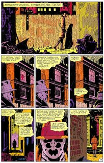 A page from Watchmen showing how a panel can extend over two or more spaces in a nine panel grid.