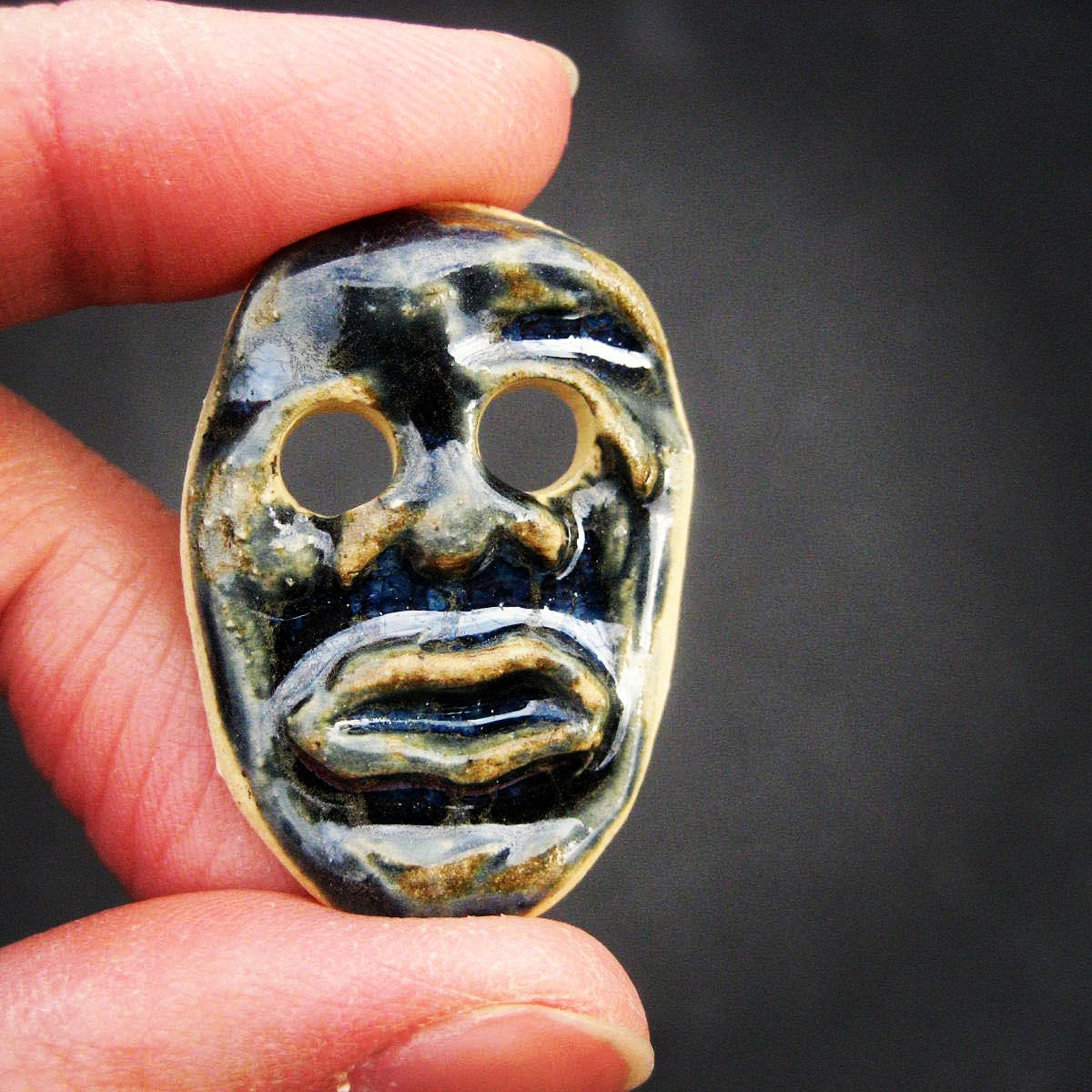 Handmade Ceramic Funny Face Button