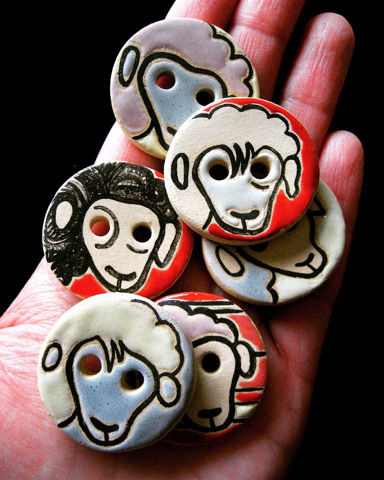 Handmade Ceramic Sheep Buttons