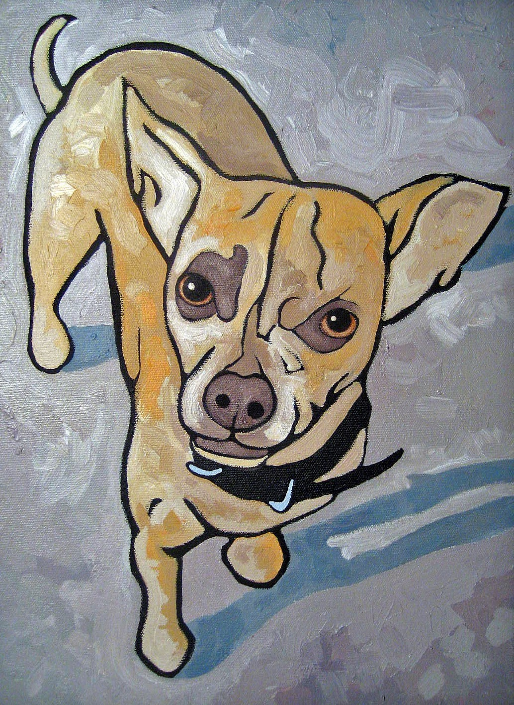 """Gizmo"", mixed media painting"