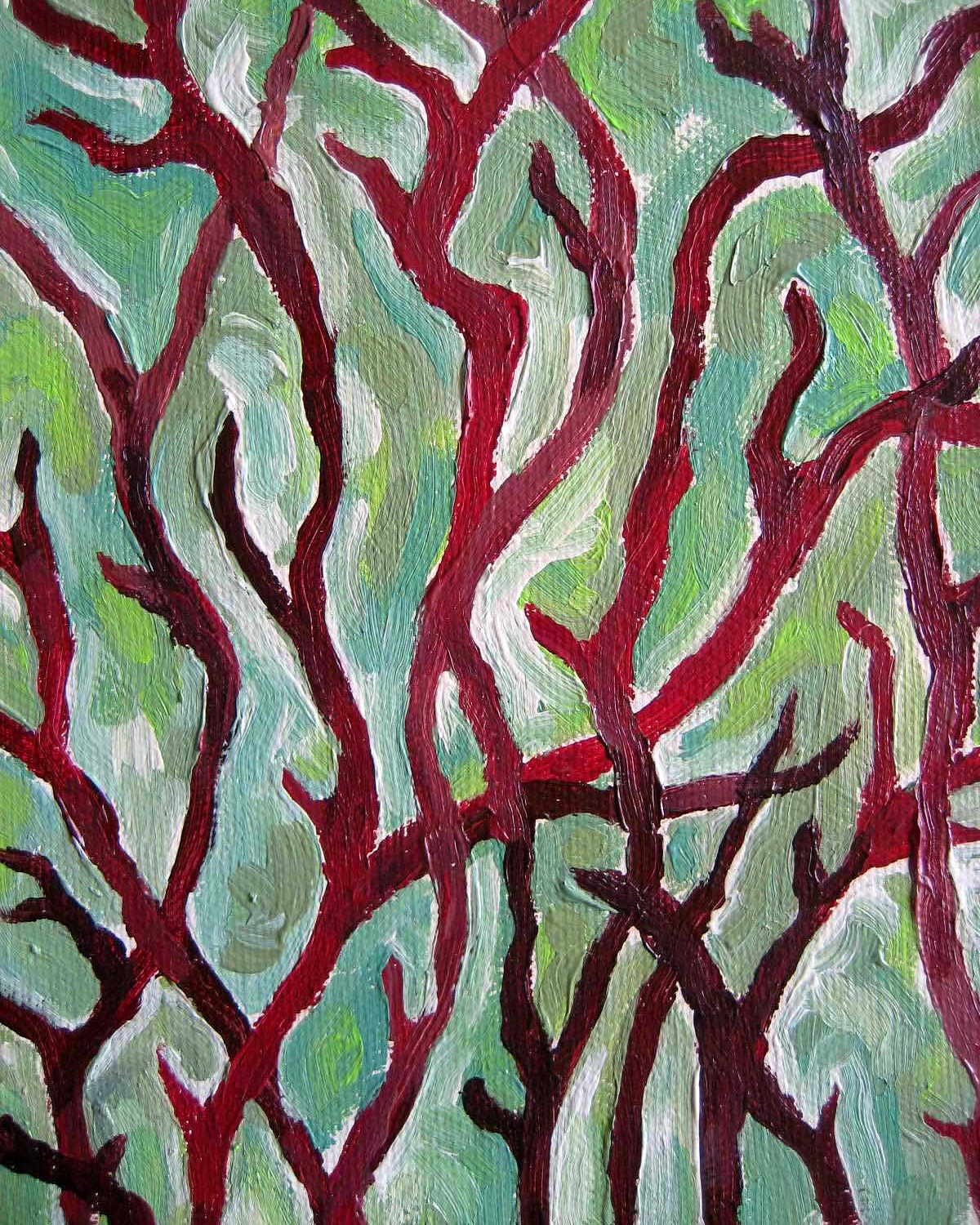"""Thicket"", mixed media painting"