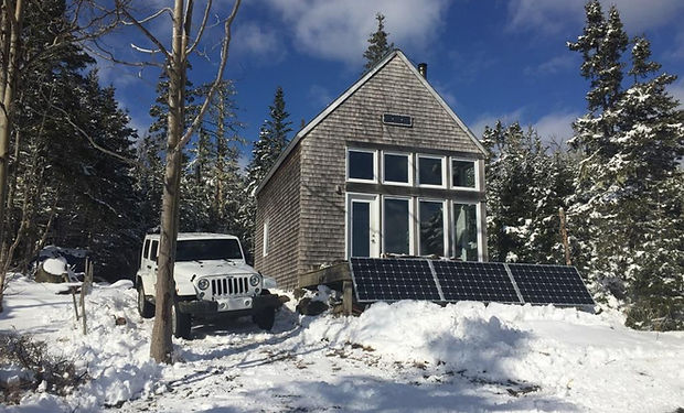 off grid house in the winter