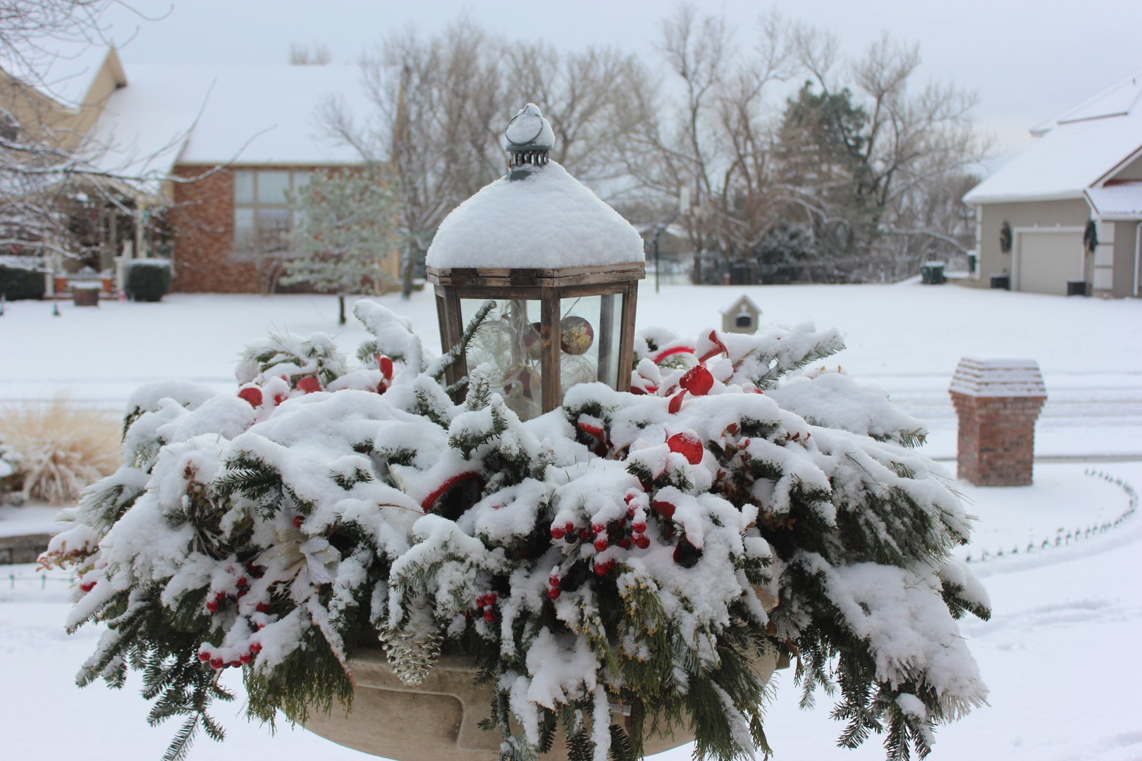 Year-round Holiday Pottery_Landscaping with snow