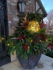 Holiday Pottery, landscaping w lights
