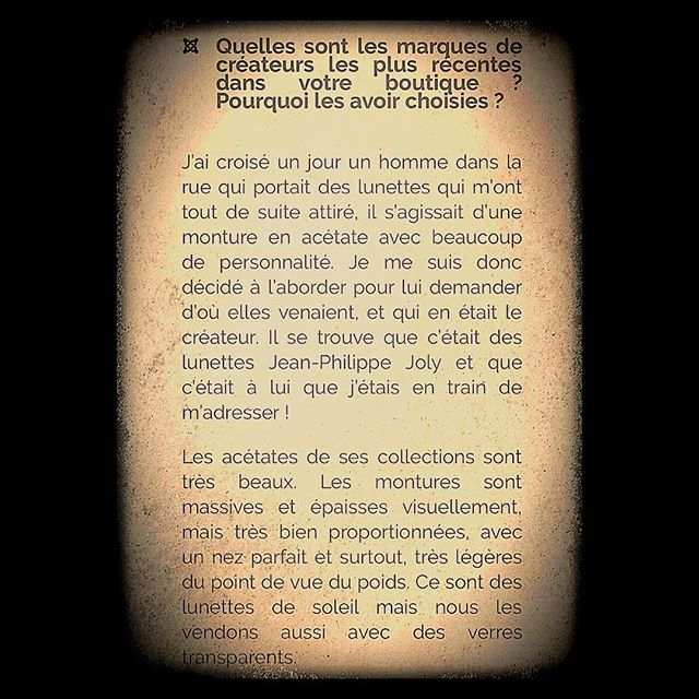 INTERVIEW PARIS 9 - Opticien Passioné  par les  Createurs Indépendants  et Avant-gardistes ...