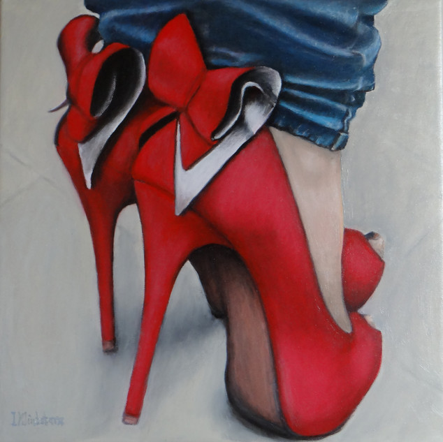 Red Heels with Bows, oil on canvas, 40x40