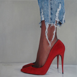 Her red high heels, oil on canvas, 60x60 S