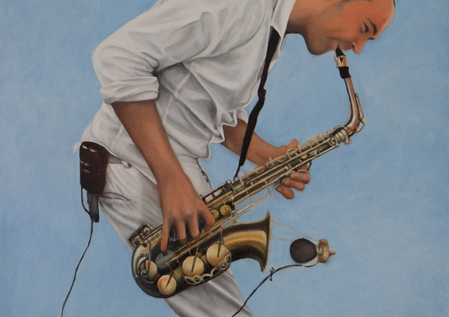 Tahit Beachi Sax Blue, oil on canvas, 100x100