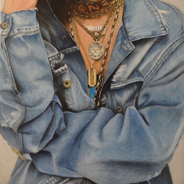 Jeans jacket, oil on canvas, 100x120