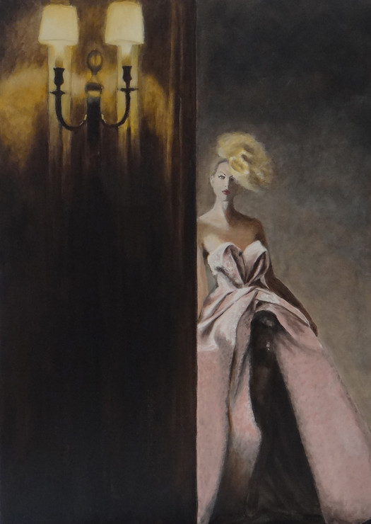 Woman by wall, oil on canvas, 50x70