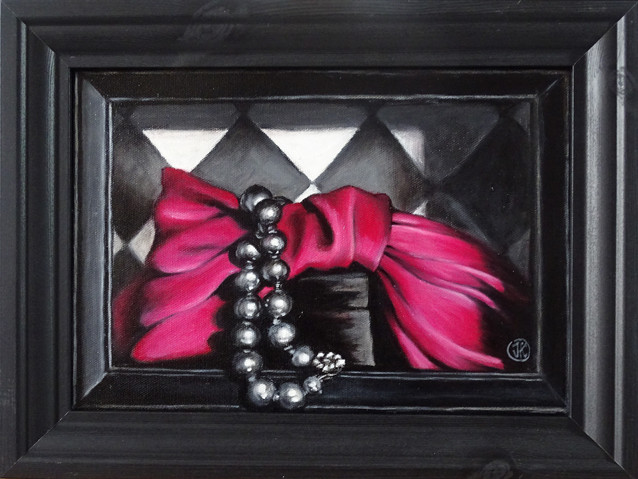 Bow and pearls, oil on canvas, 30x21