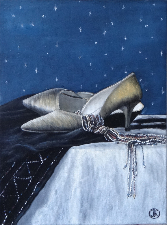 Still, golden shoes, oil on canvas,30x40, S