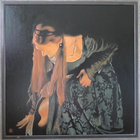 Elizabeth kneeling, oil on canvas, 80x80