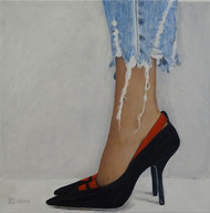 black red shoes, oil on canvas, 50x50