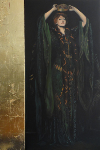 Macbeth Lady after Sargent, oil, 60x120 S