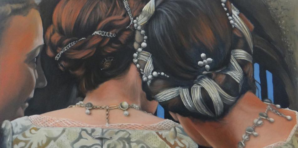 Sneak peek, oil on canvas,100x50