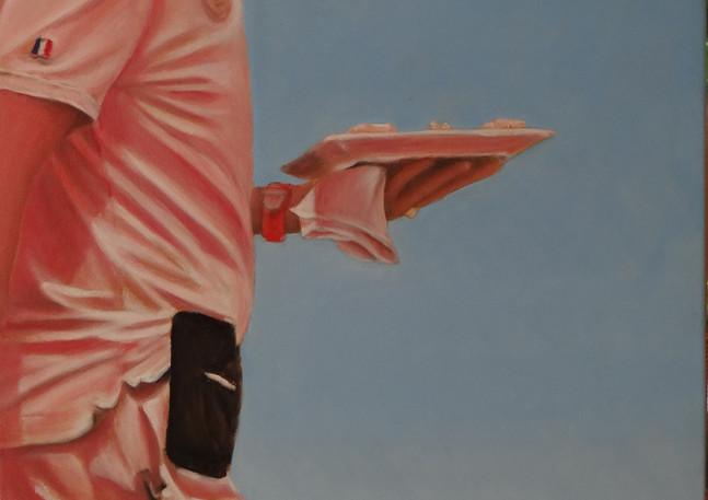 Waiter at Tahiti Beach, oil on canvas, 50x100 S