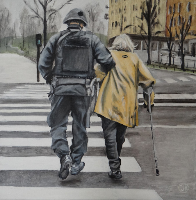 The help, oil on canvas, 40x40 S