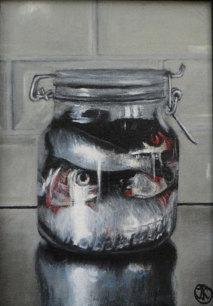 Fish in a glass jar, oil on canvas, 30x40 S