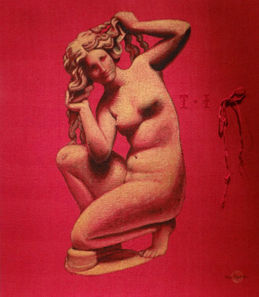 Aphrodite, acrylic on jute sack, 100x116 S