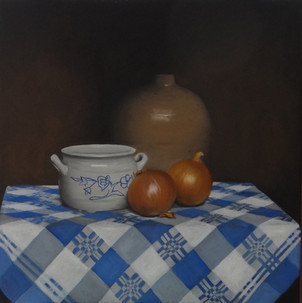 Pots and onions, oil on canvas, 50x50 S.