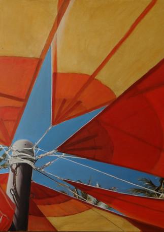 Tahiti Beach Parasol, oil on canvas, 100x100 S