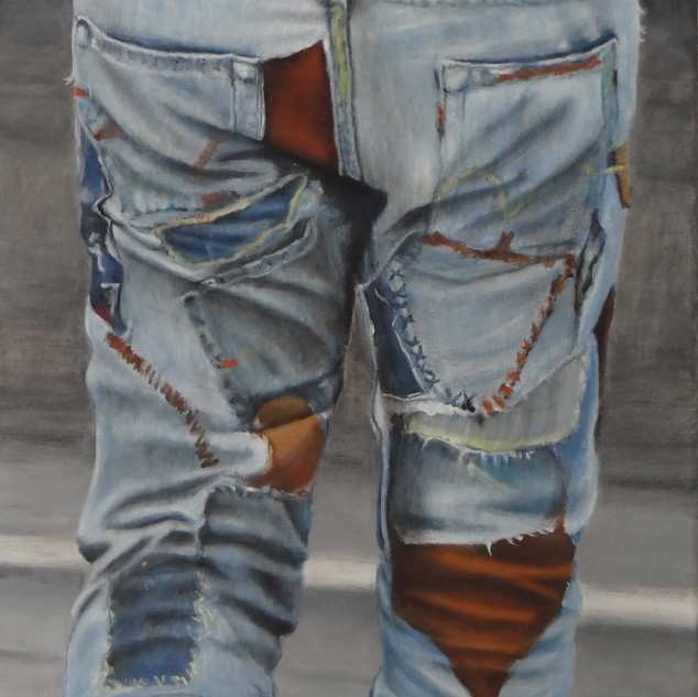Patchwork, oil on canvas, 40x80