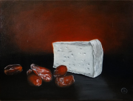 Cheese and dates, oil on canvas, 30x40