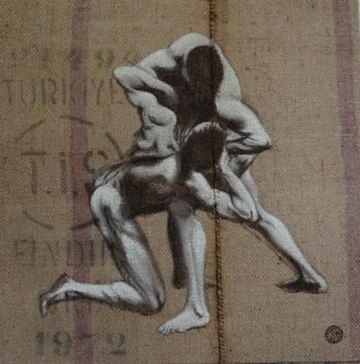 Wrestlers, acrylic on jute sack, 100x100