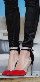 Red and black shoes, oil on canvas, 40x80