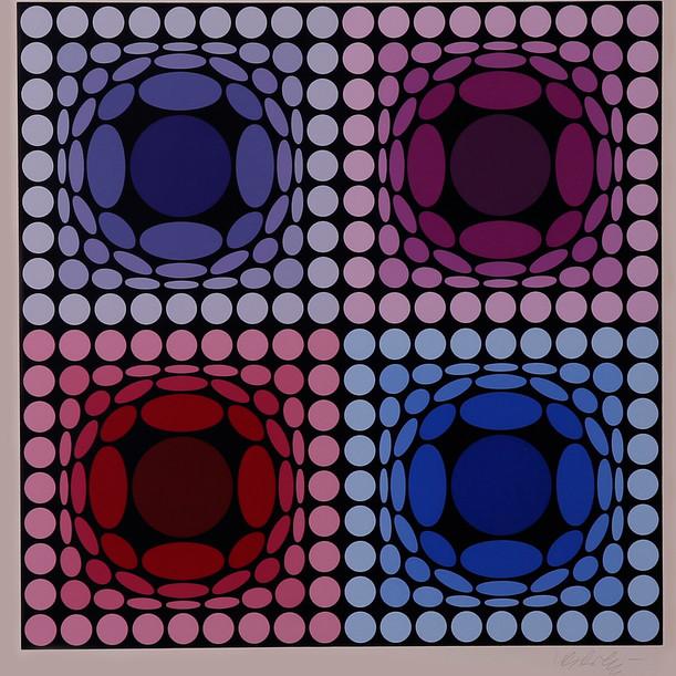 Composición doble azul y rojo