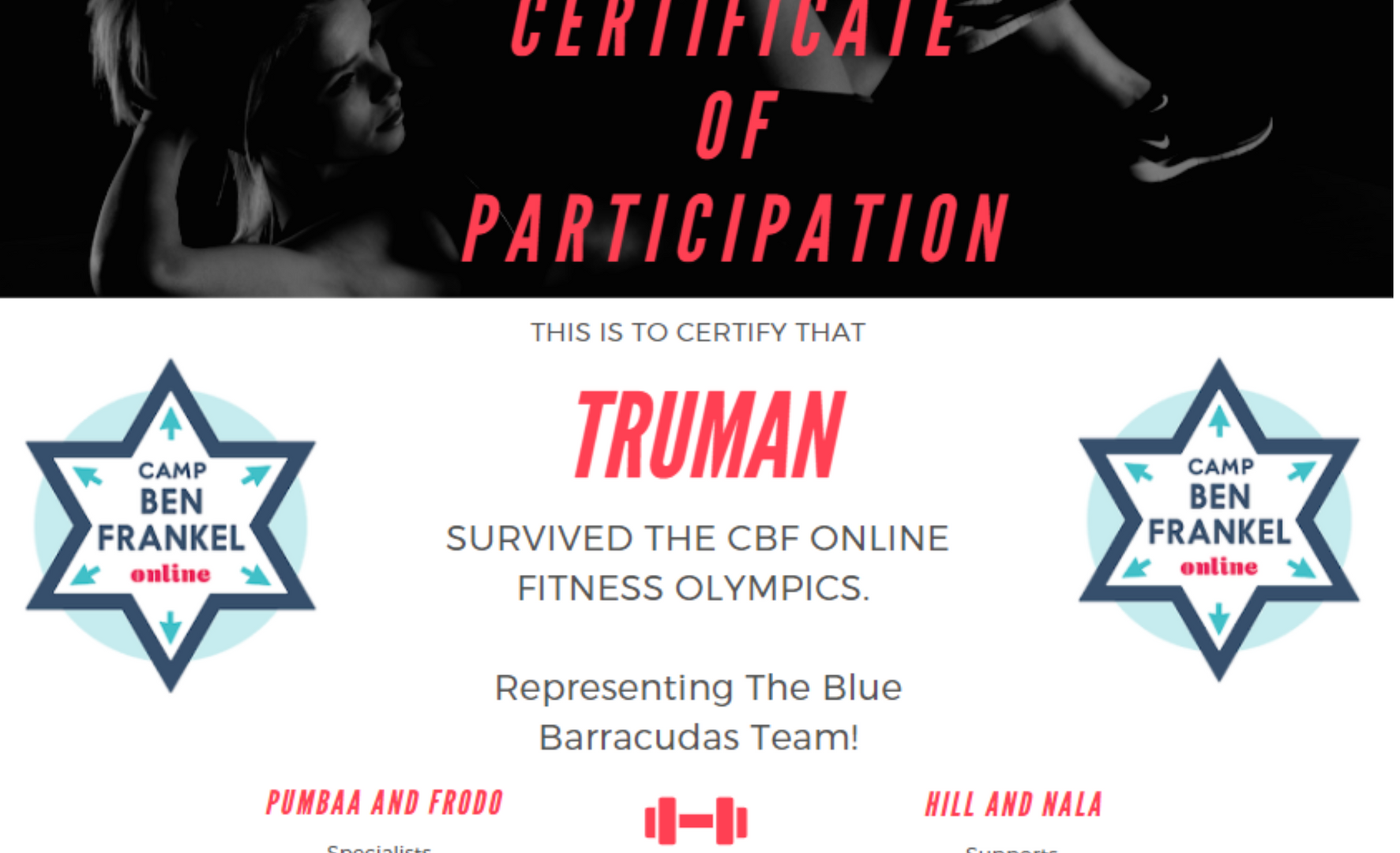 Truman's Certificate of Participation