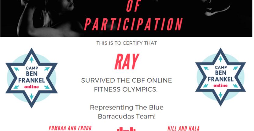 Ray's Certificate of Participation