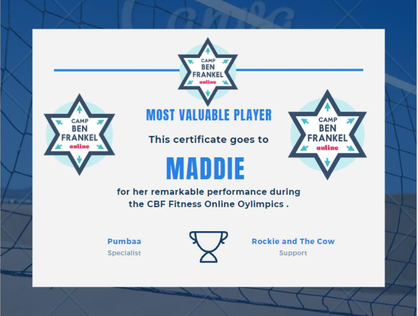 Maddie - Most Valuable Player Award