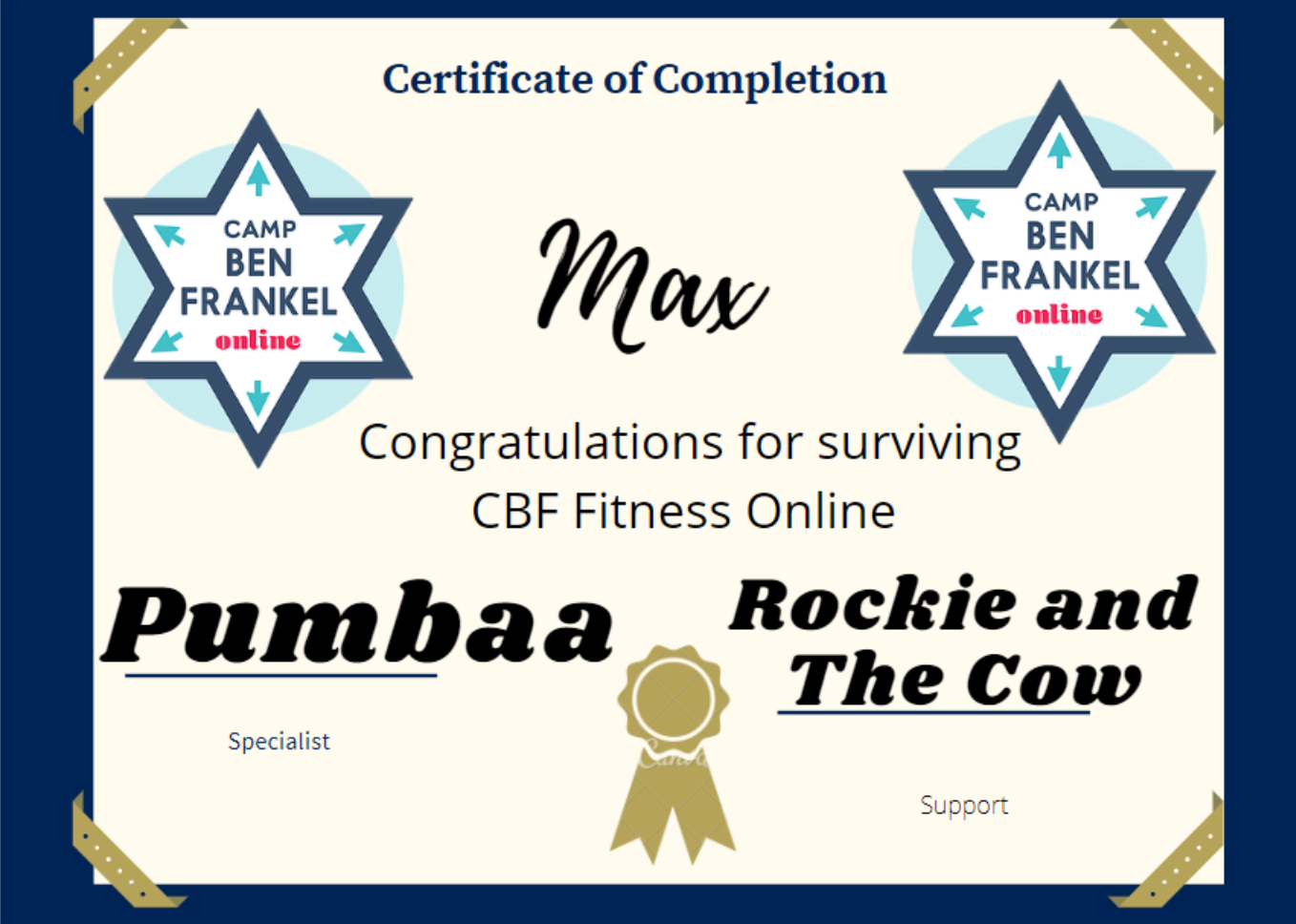 Max - Certificate of Completion