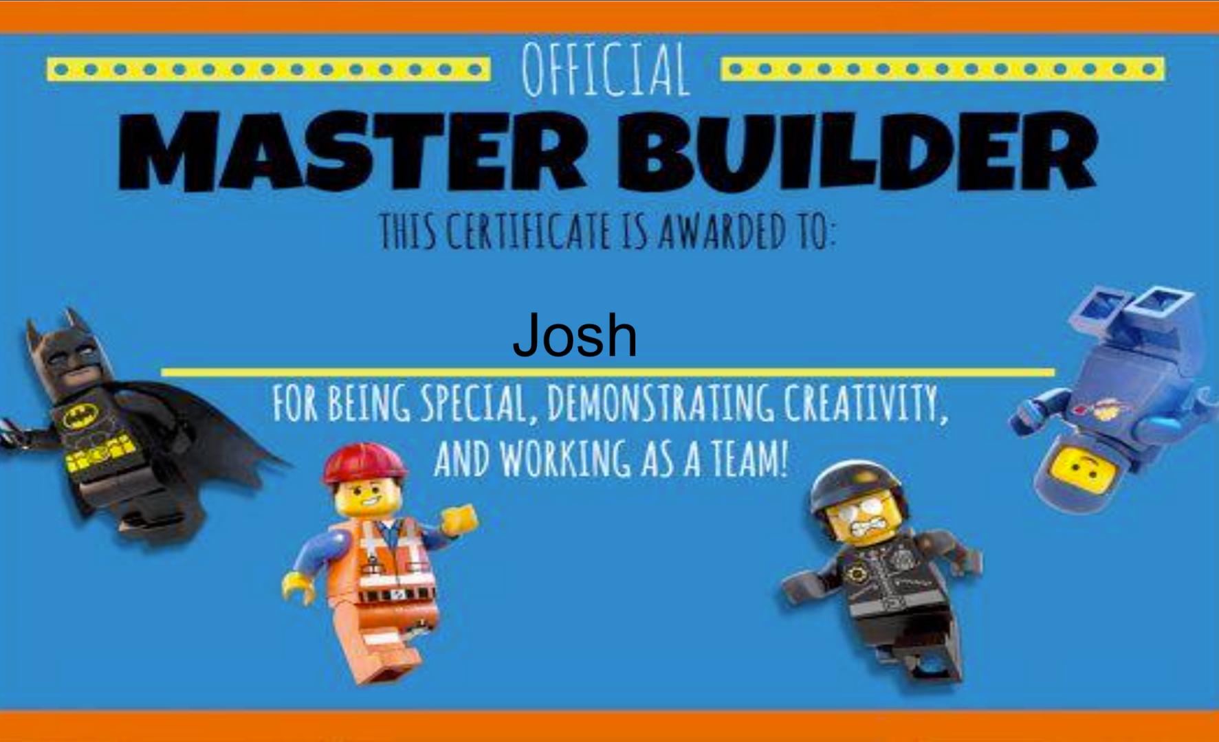 Lego Challenges - Josh's Master Builder Certificate
