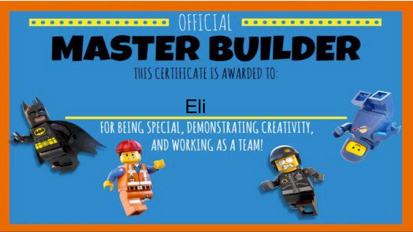 Lego Challenges - Eli's Master Builder Certificate