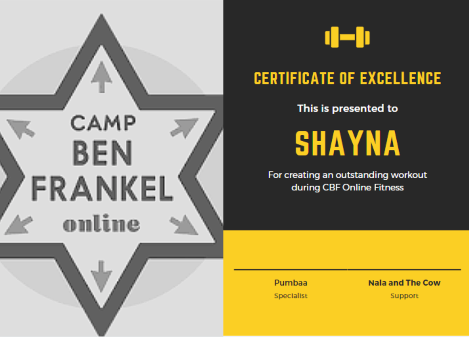 Shayna - Certificate of Excellence