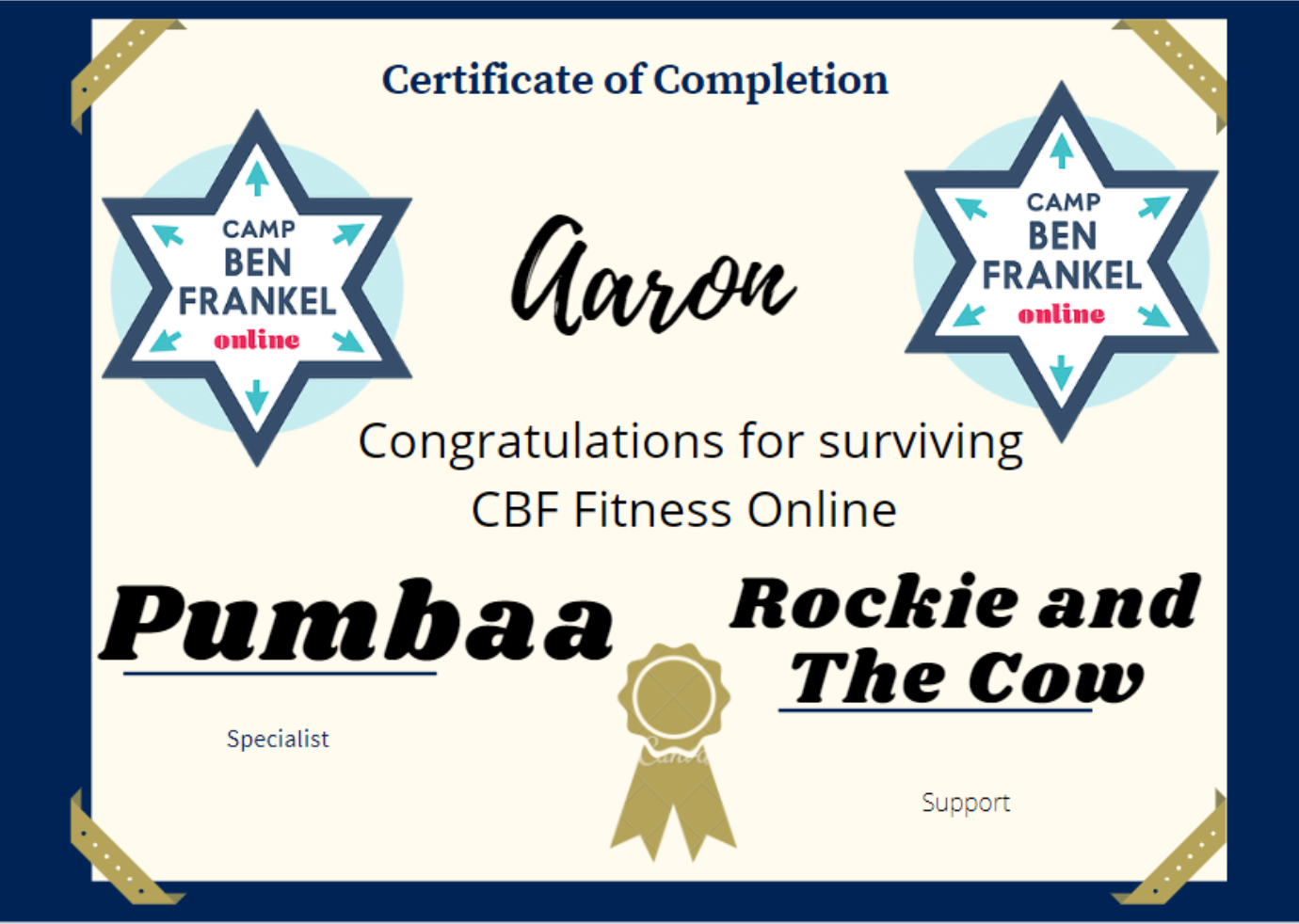 Aaron - Certificate of Completion