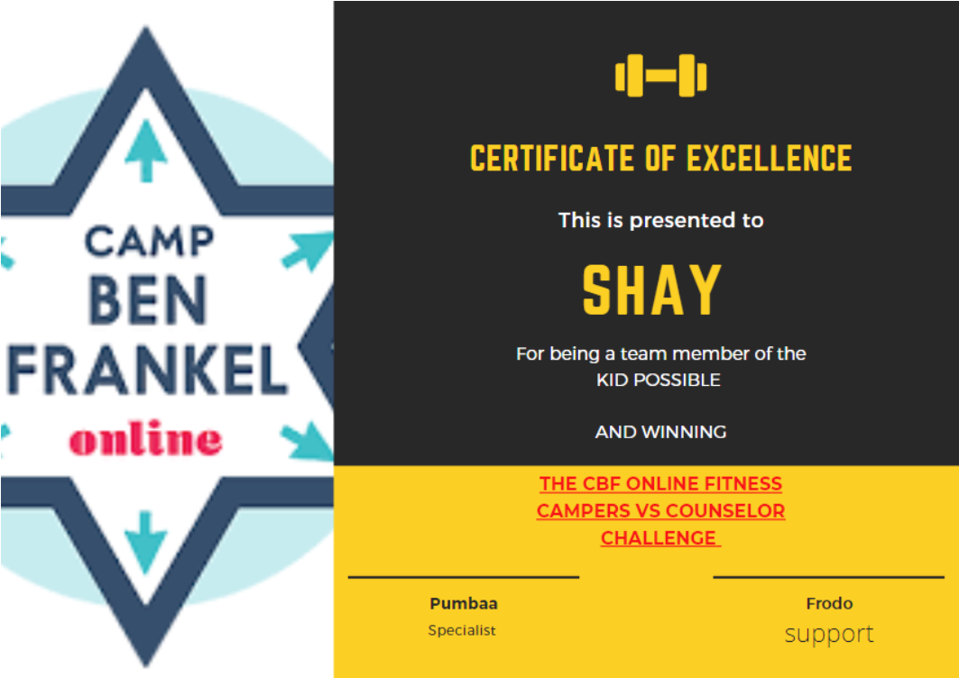 Shay - Certificate of Excellence
