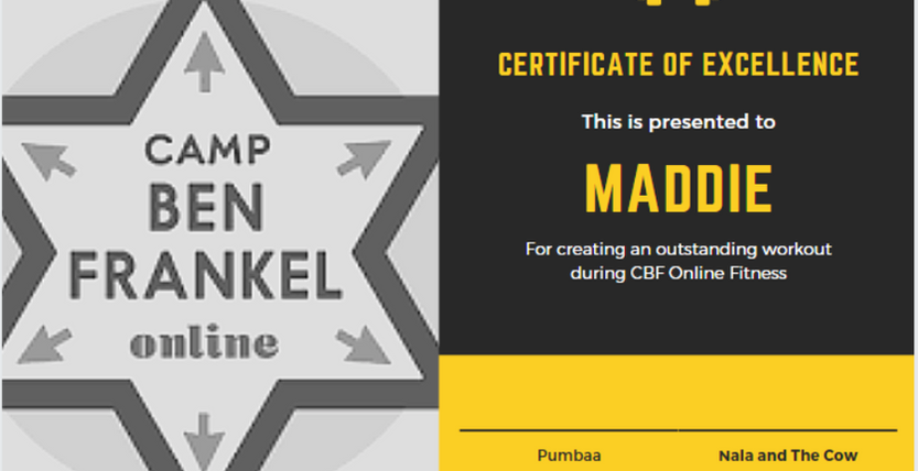 Maddie - Certificate of Excellence