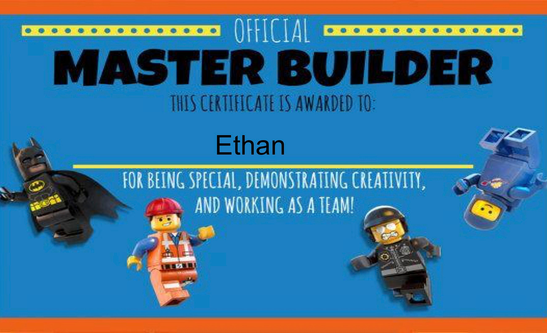 Lego Challenges - Ethan's Master Builder Certificate