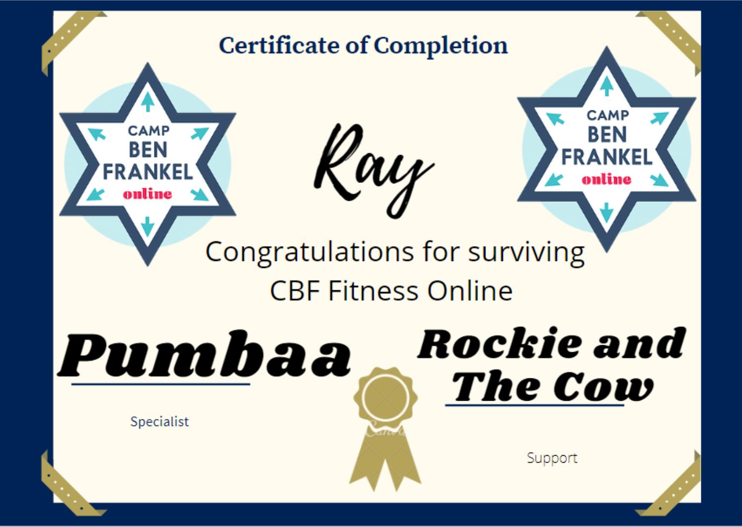 Ray - Certificate of Completion