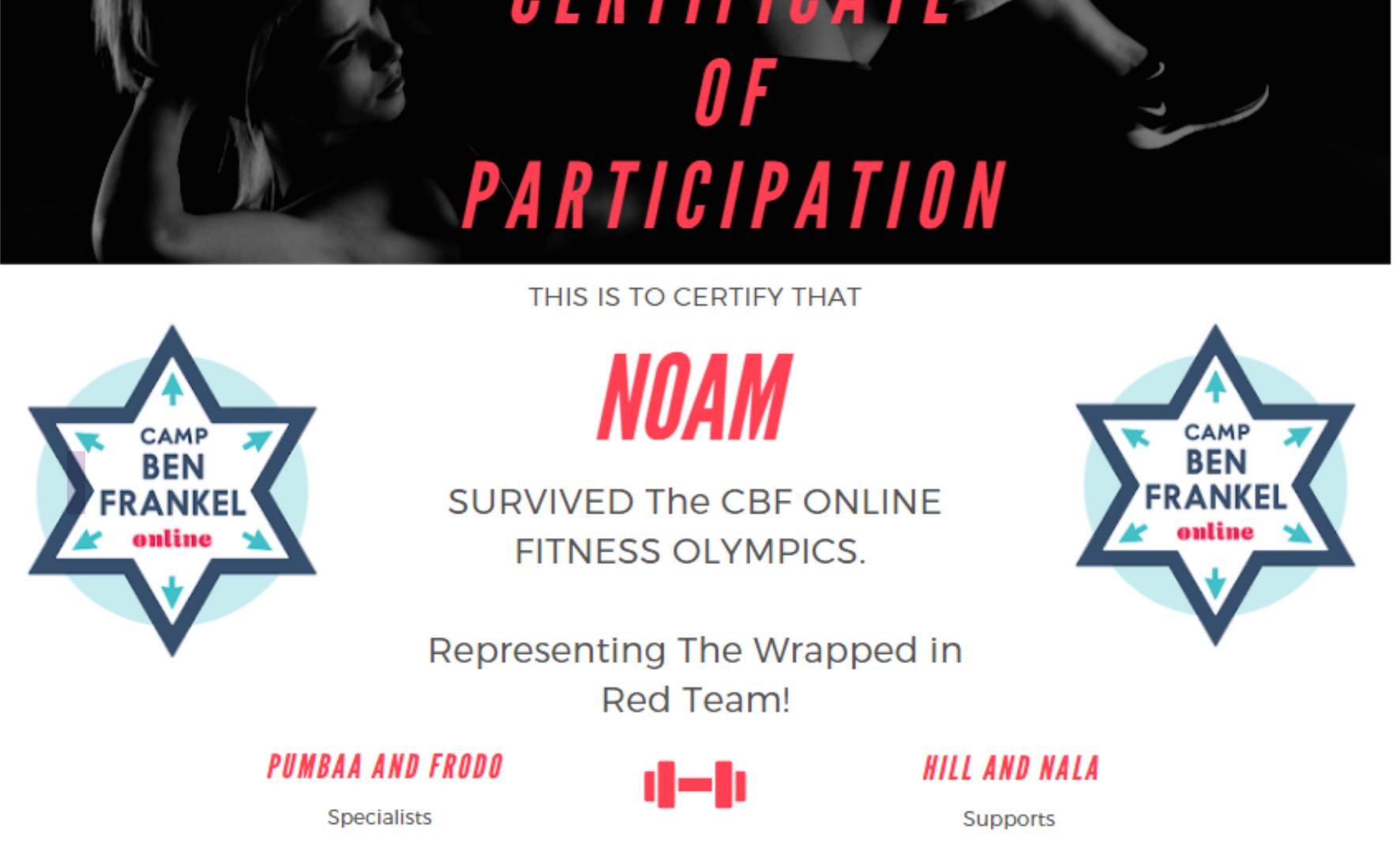 Noam's Certificate of Participation