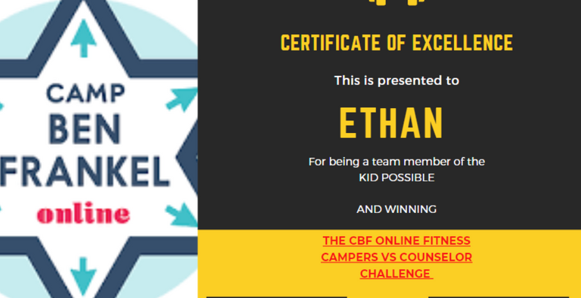 Ethan - Certificate of Excellence