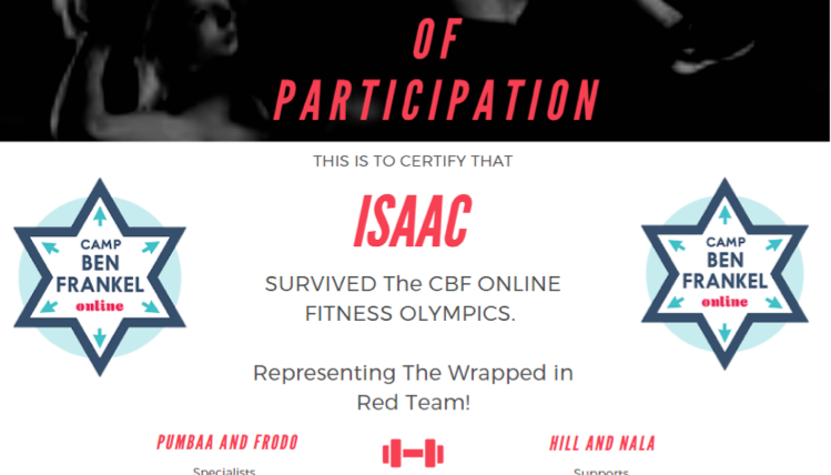 Isaac's Certificate of Participation