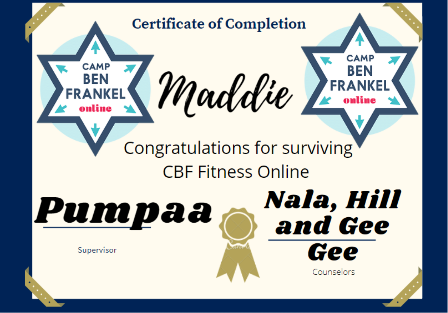Maddie - Certificate of Completion