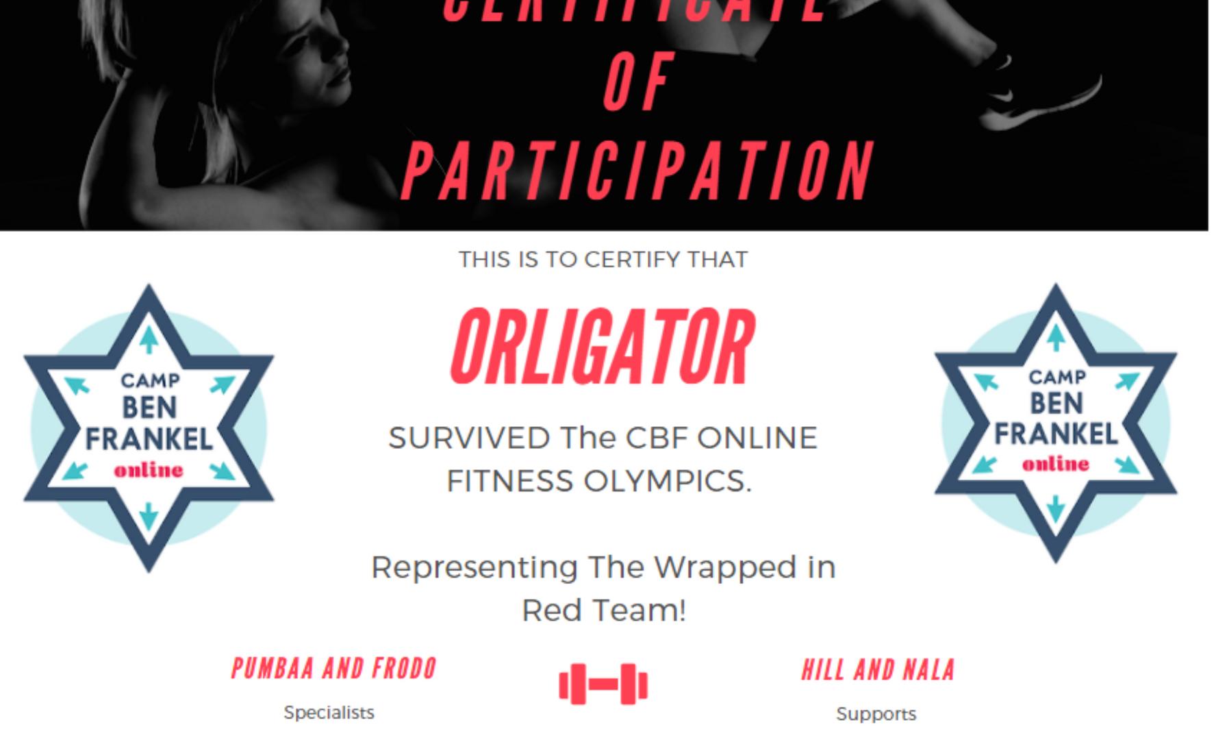 Orligator's Certificate of Participation