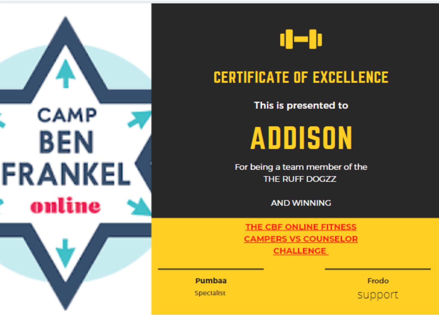 Addison - Certificate of Excellence