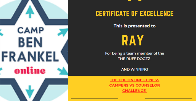 Ray - Certificate of Excellence